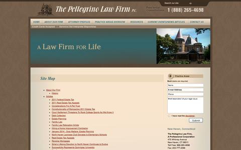 Screenshot of Site Map Page pellegrinolawfirm.com - Site Map   The Pellegrino Law Firm, A Professional Corporation   Connecticut - captured Oct. 9, 2014