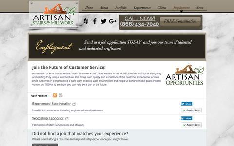 Screenshot of Jobs Page artisanstairsandmillwork.com - Artisan Stairs Job Postings - captured Oct. 8, 2017