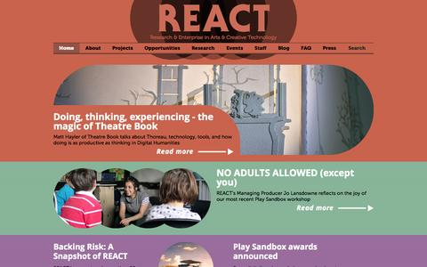 Screenshot of Home Page react-hub.org.uk - REACT - captured Jan. 30, 2015