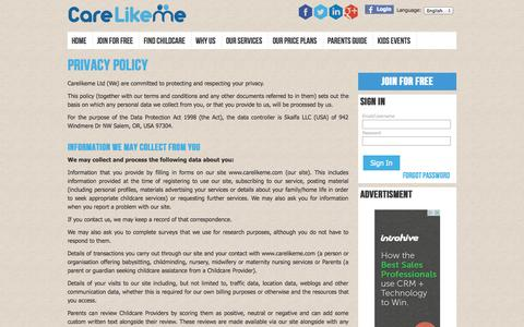 Screenshot of Privacy Page carelikeme.co.uk - Privacy Policy - Legal - CareLikeMe - captured Oct. 22, 2014