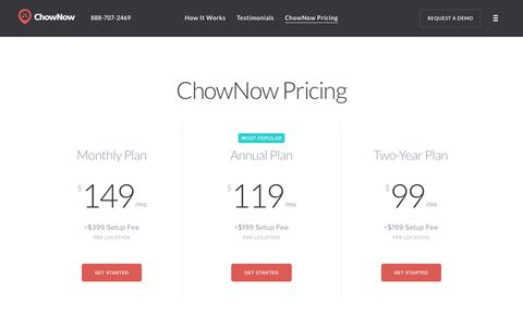 Screenshot of Pricing Page chownow.com - ChowNow | Online Ordering System Pricing & Information - captured Jan. 23, 2018