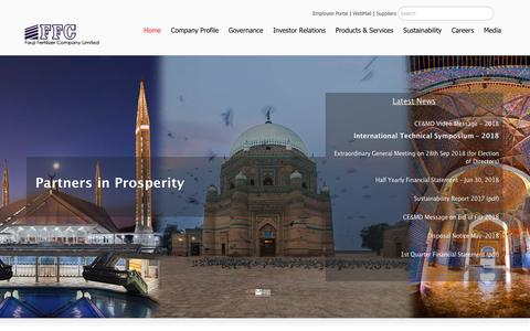 Screenshot of Home Page ffc.com.pk - Fauji Fertilizer Company Limited – Partners in Prosperity - captured Sept. 22, 2018