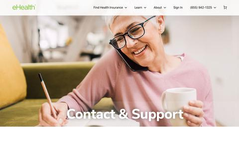 Screenshot of Contact Page ehealthinsurance.com - Contact and Support - eHealth - captured Feb. 20, 2020