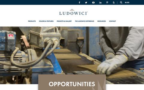 Screenshot of Jobs Page ludowici.com - Opportunities | Ludowici Roof tile - captured Sept. 30, 2018