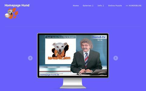Screenshot of Home Page homepage-hund.de - Homepage Hund óÔÔò ʕ·͡ᴥ·ʔ óÔÔò  Lustige Bilder, Fotos & Fotomontagen - Hundefotos - Hundesprüche - Online Puzzle - Hundeblog - Hunde Homepage - captured June 27, 2018