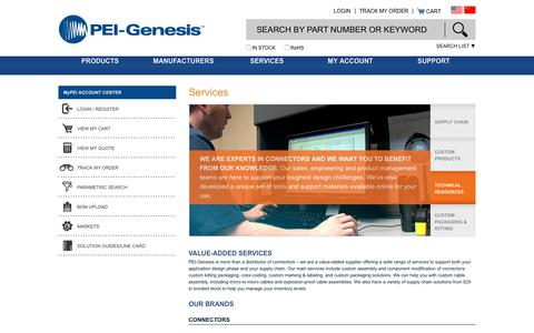 Screenshot of Services Page peigenesis.com - Value-Added Services for Connectors - captured July 14, 2018