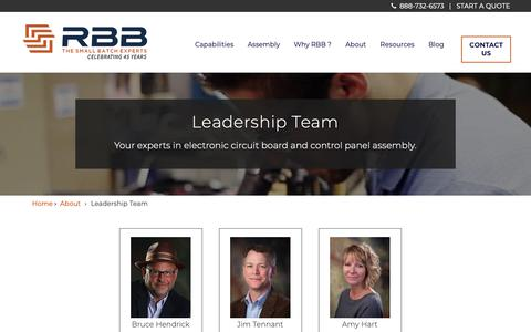 Screenshot of Team Page rbbsystems.com - Meet Your Team of Small Batch Electronic Experts - captured Oct. 19, 2018