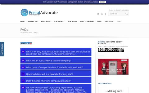 Screenshot of FAQ Page postaladvocate.com - Postal Advocate Inc     FAQs - captured Nov. 9, 2016