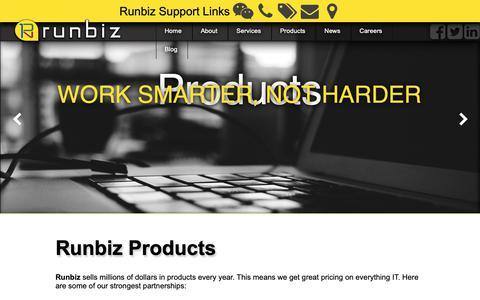 Screenshot of Products Page run.biz - Runbiz Products - captured Oct. 18, 2018