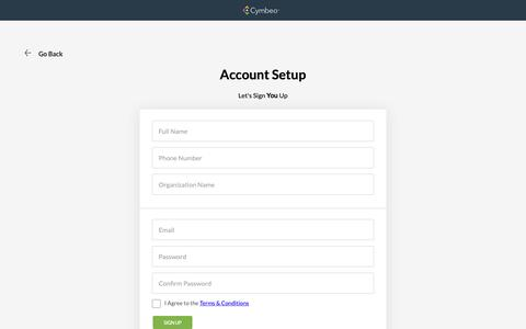 Screenshot of Signup Page cymbeo.com - Launchpad - captured Sept. 28, 2018