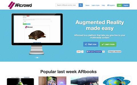 Screenshot of Home Page arcrowd.com - ARcrowd - Augmented Reality made easy - captured Sept. 30, 2014
