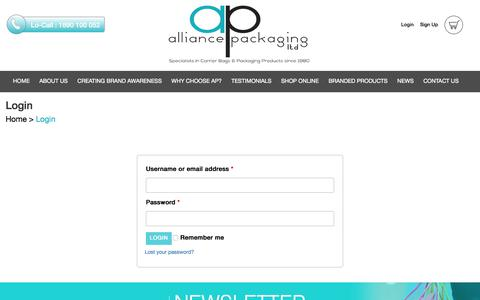 Screenshot of Login Page alliancepackaging.ie - Login - Alliance Packaging - captured Oct. 8, 2017