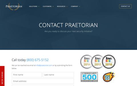 Contact Praetorian for Cybersecurity Solutions