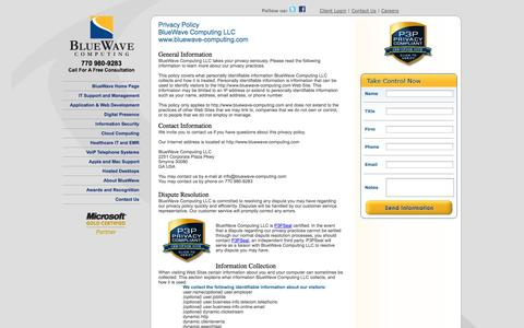 Screenshot of Privacy Page bluewave-computing.com - BlueWave Computing Privacy Policy - captured Sept. 30, 2014
