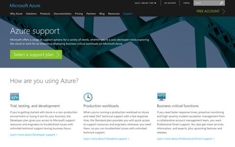 Screenshot of Contact Page Support Page microsoft.com - Microsoft Azure support options | Azure - captured Dec. 17, 2016