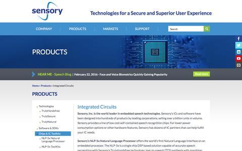 Screenshot of sensory.com - Integrated Circuits | Sensory - captured March 19, 2016