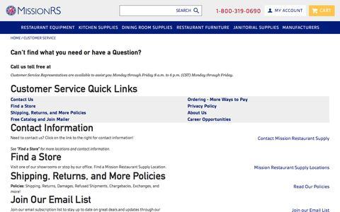 Screenshot of Support Page missionrs.com - Customer Service - captured Jan. 8, 2016