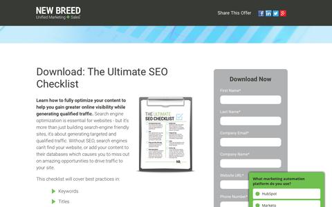 Ultimate SEO Checklist | New Breed