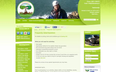 "Screenshot of FAQ Page willandaway.ie - Will and Away... ""developing people through nature"" - outdoor adventure, climbing, bush craft, survival skills, team building and nature education 