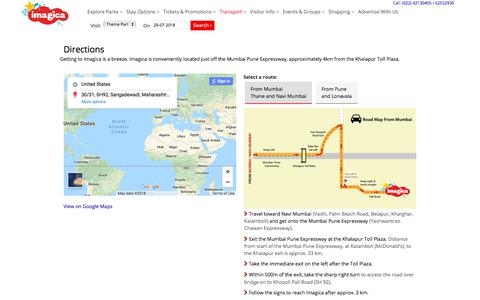 Screenshot of Maps & Directions Page adlabsimagica.com - Directions to Adlabs Imagica Theme Park | Imagica - India's favourite family holiday destination with a Theme Park, Water Park, Snow Park, and Novotel Imagica - captured July 29, 2018