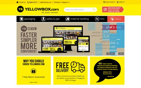 Screenshot of Home Page yellowbox.com.sg - Yellowbox.com | Online Industrial Superstore - captured Sept. 13, 2015