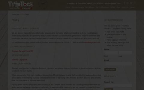 Screenshot of Press Page triptoes.com - PR Contact - Triptoes Canada - captured Nov. 5, 2014