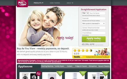 Screenshot of Home Page bayv.co.uk - Pay Weekly for TVs sofas laptops and more | Buy As You View - captured Jan. 24, 2015
