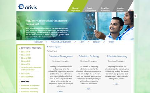 Screenshot of Services Page arivis.com - Services | arivis - captured Aug. 12, 2016