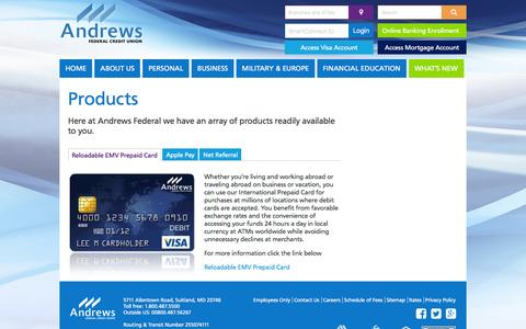 Screenshot of Products Page andrewsfcu.org - Products - Andrews Federal Credit Union - captured Jan. 31, 2016