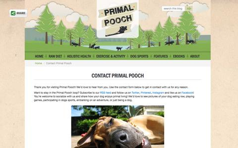 Screenshot of Contact Page primalpooch.com - Contact us | Primal Pooch - captured Nov. 4, 2014