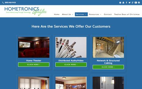 Screenshot of Services Page hometronicslifestyles.com - Services | - captured Dec. 10, 2015