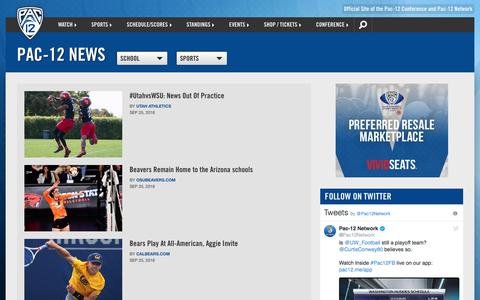 Screenshot of Press Page pac-12.com - Pac-12 News | Pac-12 - captured Sept. 26, 2018