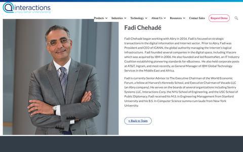Screenshot of Team Page interactions.com - Fadi Chehadé - Interactions - captured Feb. 8, 2019
