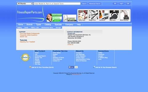 Screenshot of Support Page fitnessrepairparts.com - Support | Fitness and Exercise Equipment Repair Parts - captured Sept. 19, 2014
