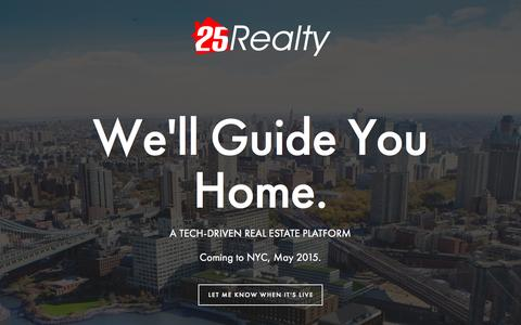 Screenshot of Home Page 25realty.com - 25 Realty - captured June 17, 2015
