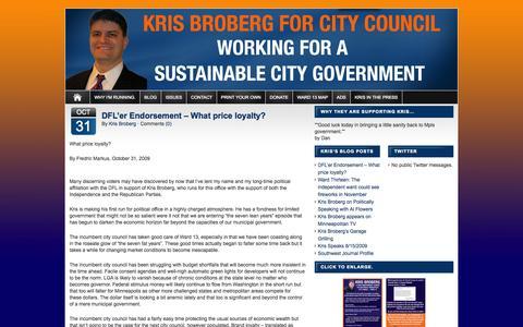 Screenshot of Blog krisbroberg.org - Blog :: Kris Broberg for Minneapolis City Council Ward 13 - captured Oct. 6, 2014