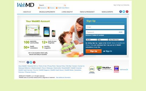 Screenshot of Signup Page webmd.com - WebMD - Better Information. Better Health. - captured Oct. 26, 2014