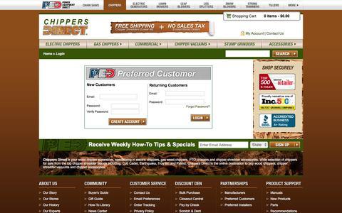 Screenshot of Login Page chippersdirect.com - Log In @ Chippers Direct.com - Your Online Chipper Superstore - captured Dec. 8, 2015