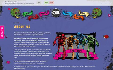 Screenshot of About Page thecultpr.co.uk - About us | The Cult PR - captured Sept. 20, 2018