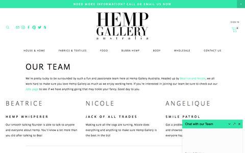 Screenshot of Team Page hempgallery.com.au captured July 18, 2018