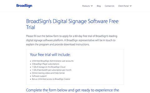 Screenshot of Trial Page broadsign.com - BroadSign's Digital Signage Software Free Trial | BroadSign - captured June 3, 2017