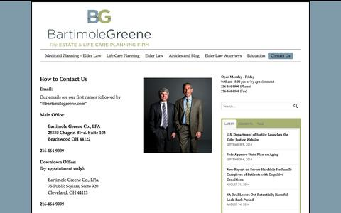 Screenshot of Contact Page bartimolegreene.com - Contact us - captured Oct. 5, 2014