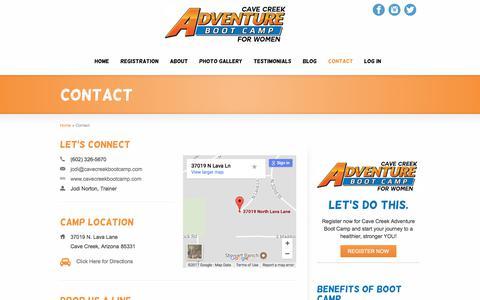 Screenshot of Contact Page cavecreekbootcamp.com - Contact - Cave Creek Adventure Boot Camp - captured July 18, 2017
