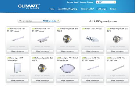Screenshot of Products Page climatelighting.com - CLIMATE Lighting LED replacement lamps | LED Lighting solutions - captured Sept. 26, 2014