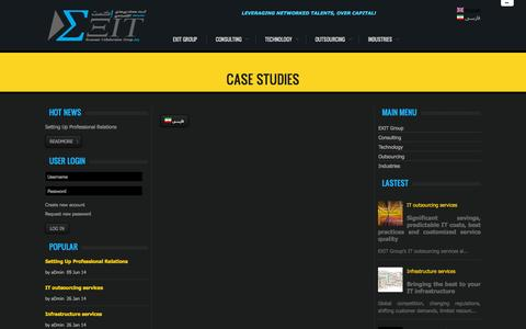 Screenshot of Case Studies Page exit-group.co.ir - Case Studies | EXIT Group | StartUp, SME Consulting Network - captured Oct. 1, 2014