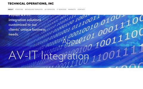 Screenshot of Home Page tech-ops.com - Technical Operations, Inc - captured Feb. 14, 2016