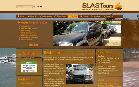 Screenshot of Services Page blastours.com - Ghana Tour Operator tourism & travel services - captured Jan. 6, 2016
