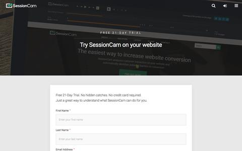 Screenshot of Trial Page sessioncam.com - Try SessionCam - Sign-Up Form | SessionCam - captured June 28, 2018