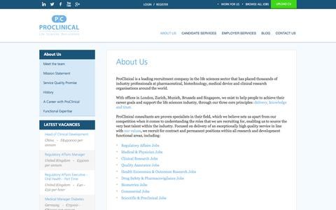 Screenshot of About Page proclinical.co.uk - Life Sciences Recruitment Agency - Jobs UK & Globally - captured Oct. 3, 2014