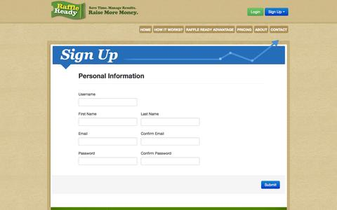 Screenshot of Signup Page raffleready.com - Sign Up | Online Fundraising | Raise & Manage Money | Raffle Ready - captured Oct. 27, 2014